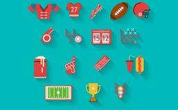 Vlakke pictogrammeninzameling voor Amerikaanse voetbal Stock Foto
