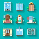 Vlakke pictogrammeninzameling voor ingangsdeuren Royalty-vrije Stock Fotografie