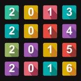 Vlakke pictogrammenjaren 2014 stock illustratie