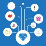 Vlakke Pictogrammenovereenkomst, Blokkenwagen, Patisserie en Andere Vectorelementen De reeks Symbolen van Huwelijks Vlakke Pictog royalty-vrije illustratie