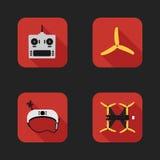Vlakke pictogrammenreeks van het rennen quadrocopter Stock Foto's