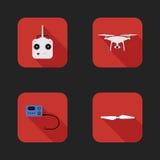 Vlakke pictogrammenreeks van luchtquadrocopter Stock Foto