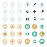 Vlakke pictogrammenreeks van medische hulpmiddelenreeks Stock Foto's