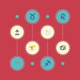 Vlakke Pictogrammenstier, Leeuw, de Elementen van Archer And Other Vector De reeks Symbolen van Astronomie Vlakke Pictogrammen om Stock Afbeelding