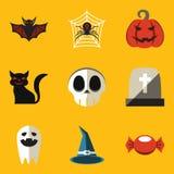 Vlakke pictogramreeks. Halloween Stock Fotografie