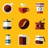 Vlakke pictogramreeks. Koffie Stock Fotografie