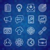 Vlakke pictogramreeks SEO-symbolen Stock Foto's