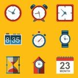 Vlakke pictogramreeks. Tijd. Klok Stock Fotografie