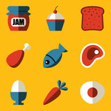 Vlakke pictogramreeks. Voedsel Stock Foto's