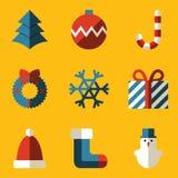 Vlakke pictogramreeks. Vrolijke Kerstmis Royalty-vrije Stock Foto's