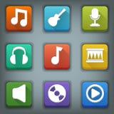 Vlakke pictogramreeks. Witte Symbolen. Muziek Stock Foto