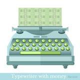 Vlakke pictogramschrijfmachine met merkmooney Royalty-vrije Stock Foto