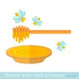 Vlakke pictogramstok aan honing met plaat en bij Stock Fotografie