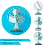 Vlakke pictogramventilator of ventilator op wit met schaduw Stock Afbeeldingen