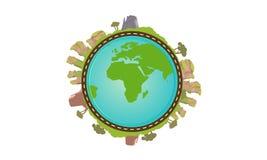 Vlakke planeet met aard rond landschap op Vectorillustratie voor Webbanner, Web en mobiel Stock Fotografie