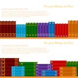 Vlakke plank met van volumes van boeken Stock Afbeeldingen
