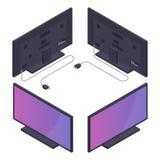 Vlakke of plasmatv met machtskoord Isometrische Vectorillustratie Stock Foto