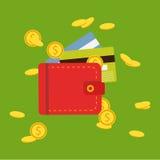 Vlakke portefeuille met geld, muntstukken en creditcard, contant geld royalty-vrije illustratie
