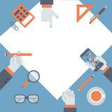 Vlakke projectleiding, concept van het bedrijfsonderzoek het nieuwe idee Stock Foto