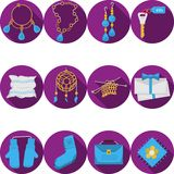 Vlakke purpere pictogrammen voor met de hand gemaakte giften Stock Foto