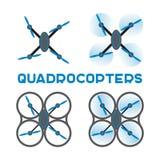 Vlakke quadrocopterspictogrammen Stock Foto