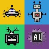 Vlakke reeks met pixelrobots en bewerker Stock Afbeeldingen