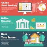 Vlakke reeks van sociale bedrijfsreis, online bankwezen Stock Foto's