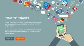 Vlakke reisbanner met hand met gps telefoon en pictogrammen stock illustratie