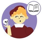 Vlakke ronde avatar van schooljongen Mijn favoriet onderwerp is Literatuur royalty-vrije stock afbeeldingen