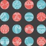 Vlakke ronde lijnpictogrammen voor zeevruchten Stock Afbeeldingen