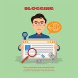 Vlakke samenstelling met mannetje blogger en de camera van het computerweb en m Royalty-vrije Stock Foto's