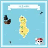 Vlakke schatkaart van Albanië royalty-vrije illustratie