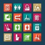 Vlakke schoonmakende geplaatste pictogrammen Stock Afbeelding