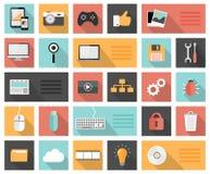 Vlakke seo 25, ontwikkeling, sociale media en computerpictogrammen Stock Foto