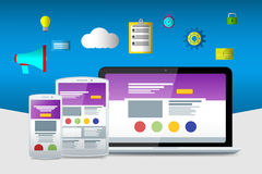 Vlakke seopictogrammen Websites en toepassingen Vlakke laptop Royalty-vrije Stock Fotografie