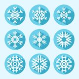 Vlakke Sneeuwvlokpictogrammen Stock Foto