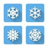 Vlakke Sneeuwvlokpictogrammen Royalty-vrije Stock Foto's