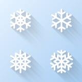 Vlakke Sneeuwvlokpictogrammen Vector illustratie Stock Fotografie
