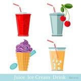 Vlakke snel voedseldrank en ijs creame met pak Stock Afbeelding