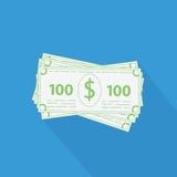 Vlakke stapel van geldpictogram Stock Afbeeldingen