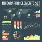 Vlakke stijl infographic die elementen met diagrammen worden geplaatst Royalty-vrije Stock Foto
