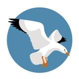 Vlakke stijl van de zeemeeuw de vectorillustratie stock illustratie