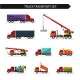 Vlakke stijl vectorillustratie van vrachtwagen en leveringsvervoer Royalty-vrije Stock Fotografie