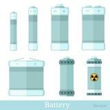Vlakke stijlreeks van batterij en accumulator Royalty-vrije Stock Foto