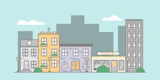 Vlakke straatillustratie vector illustratie