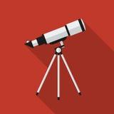 Vlakke telescoop met lange schaduw Het pictogram van toestellen Stock Afbeelding