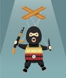 Vlakke terrorist-marionet Royalty-vrije Stock Afbeeldingen