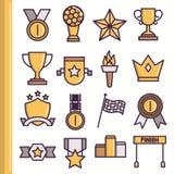 Vlakke toekenningspictogrammen Royalty-vrije Stock Afbeeldingen