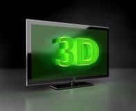 Vlakke TV - 3D concept HD in groen Stock Afbeeldingen