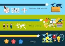 Vlakke UI-ontwerpconcepten voor unieke infographics Stock Fotografie